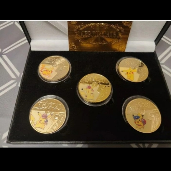 5 24K GOLD PLATED POKEMON PIKACHU COIN SET